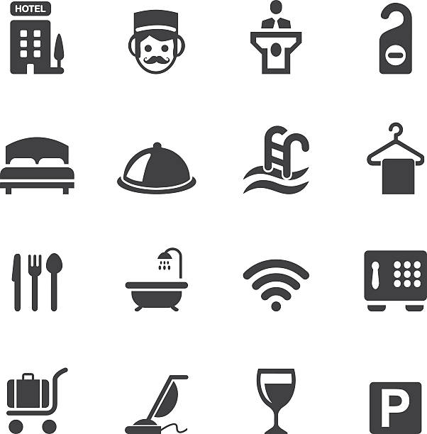 hotel-silhouette icons 1 - betttablett stock-grafiken, -clipart, -cartoons und -symbole