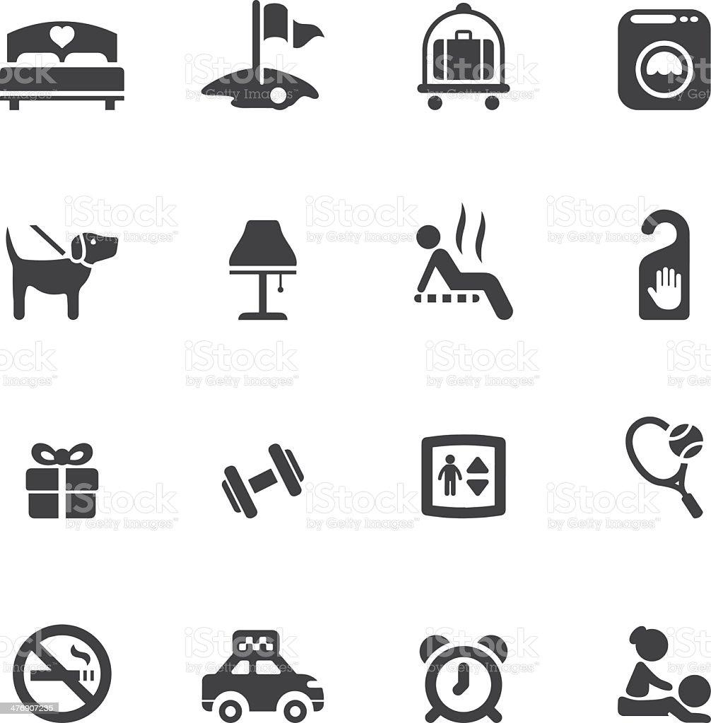 Hotel Silhouette icons 2 vector art illustration