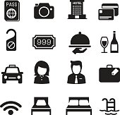 Hotel silhouette icons Set