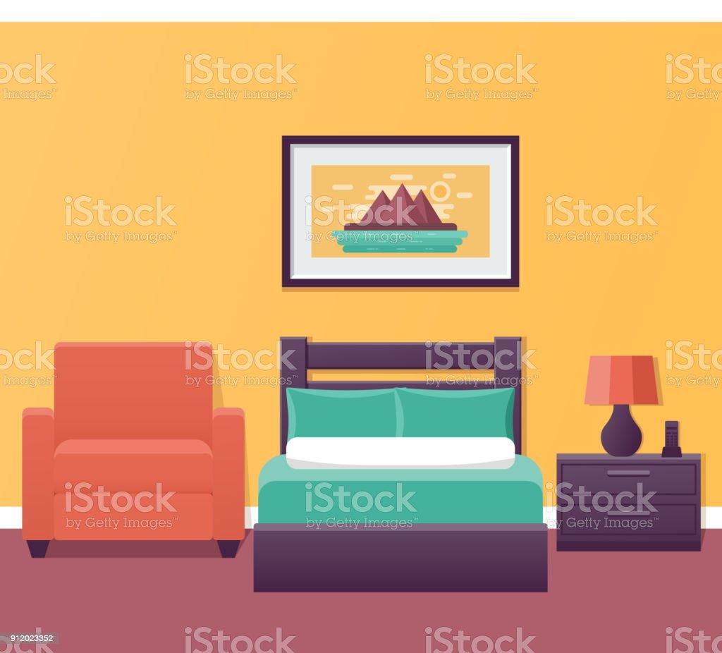 Hotel Single Room Interior In Design. Vector Illustration. Royalty Free  Hotel Single Room