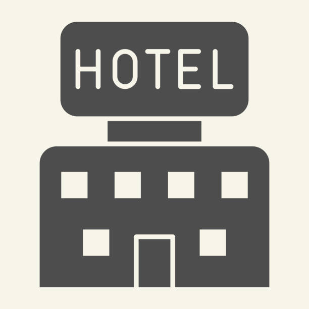 ilustrações de stock, clip art, desenhos animados e ícones de hotel solid icon. hotel building with signboard symbol, glyph style pictogram on beige background. travel apartment sign for mobile concept and web design. vector graphics. - isolated house, exterior
