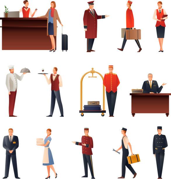 ilustrações de stock, clip art, desenhos animados e ícones de hotel staff gradient flat people - viagens anos 70