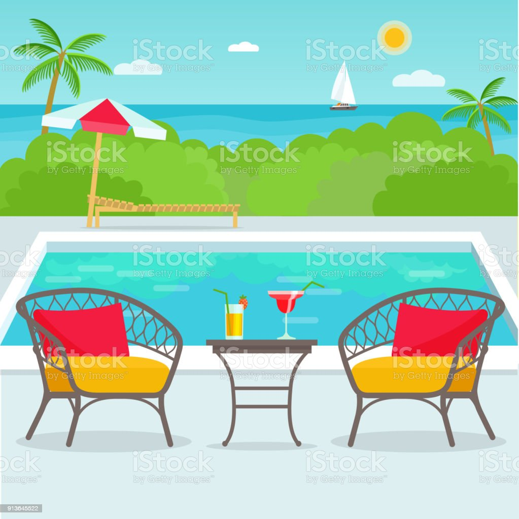 pool bar furniture. Hotel Swimming Pool Bar, Restaurant Furniture Chairs And Table. Vector Flat Illustration Royalty- Bar
