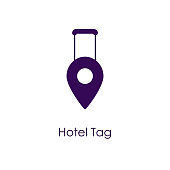 Vector illustration of a Hotel Tag Icon