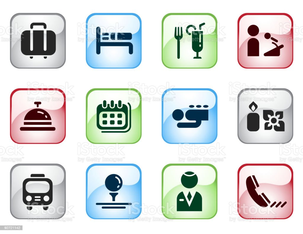 Hotel Themed Computer Icons with Glossy Effect royalty-free hotel themed computer icons with glossy effect stock vector art & more images of awards ceremony