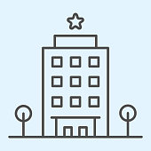 Hotel thin line icon. Traveler spot building with star on top with trees. Horeca vector design concept, outline style pictogram on white background, use for web and app. Eps 10