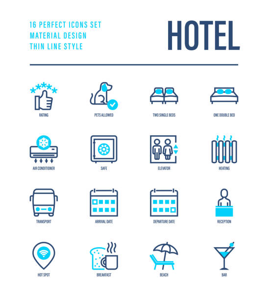 hotel thin line icons set: rating, pet allowed, single bed, double bed, elevator, arrival date, departure date, heating, air conditioner, reception, wi-fi, breakfast, bar. vector illustration. - hotel reception stock illustrations