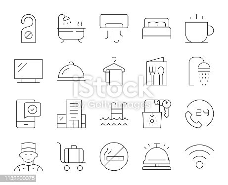 Hotel Thin Line Icons Vector EPS File.