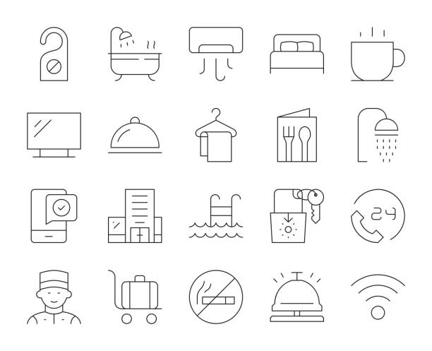 hotel-thin line icons - betttablett stock-grafiken, -clipart, -cartoons und -symbole