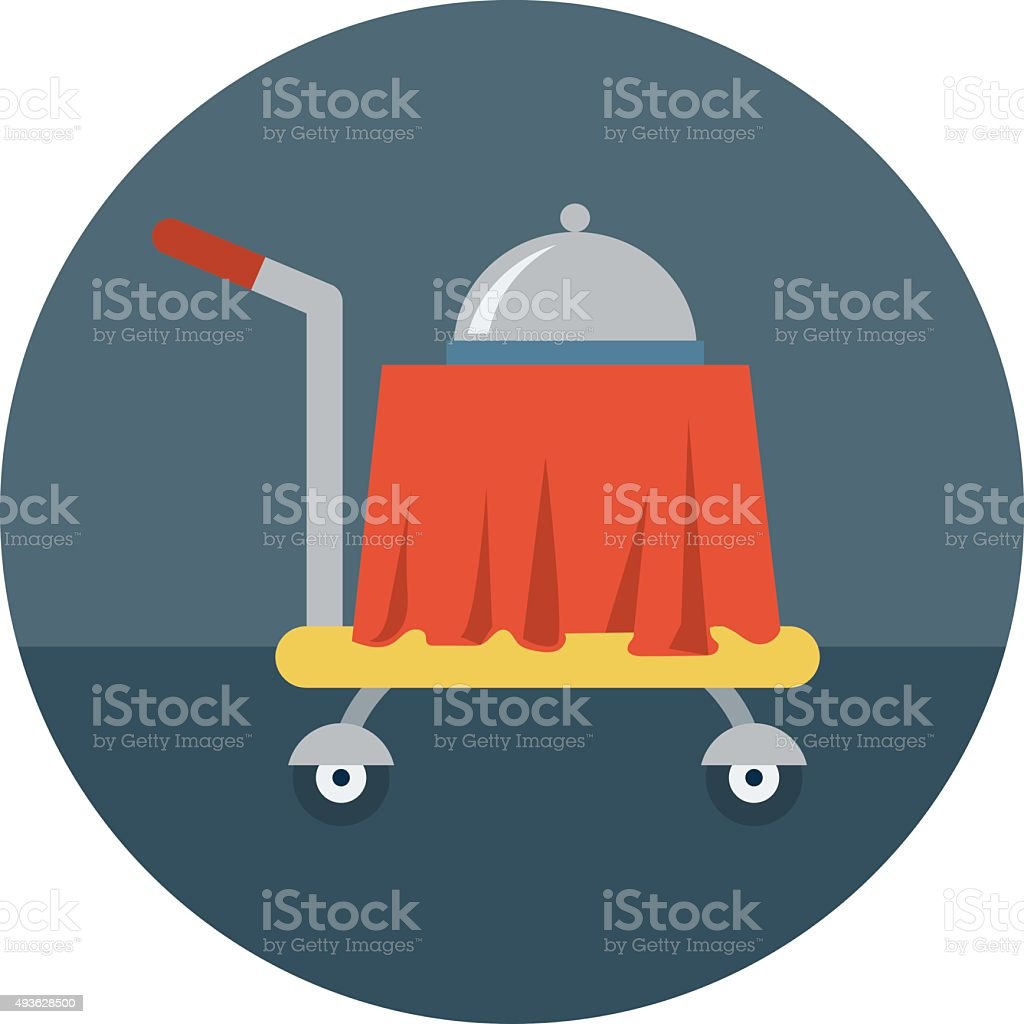 Hotel Trolley Colored Vector Icon vector art illustration
