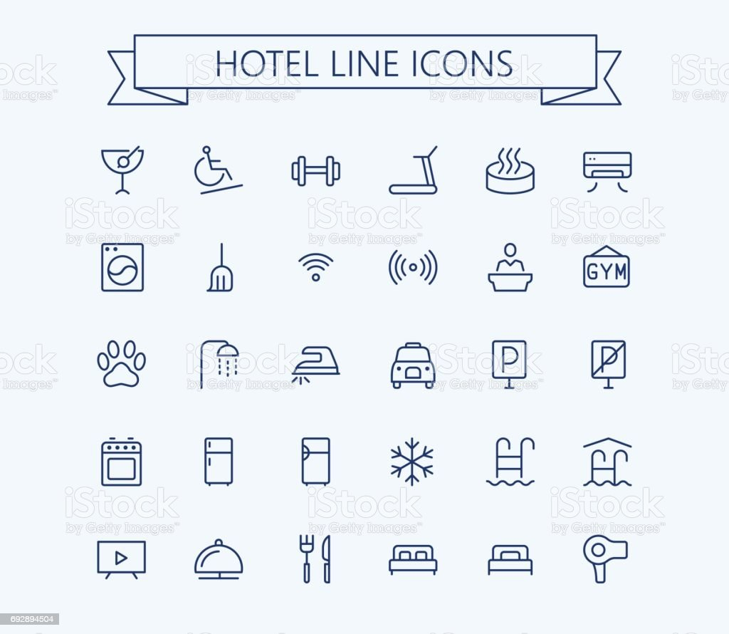 Hotel vector icons set. Thin line outline 24x24 Grid.Pixel Perfect vector art illustration