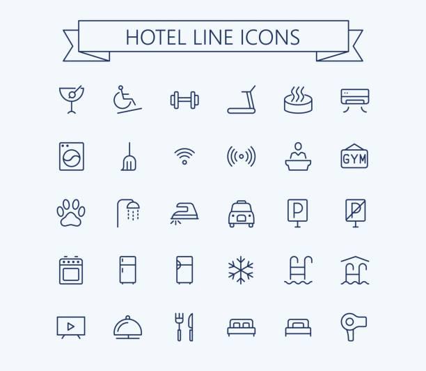 hotel-vektor-icons set. dünne linie skizzieren 24 x 24 grid.pixel perfekt - mittel stock-grafiken, -clipart, -cartoons und -symbole