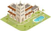 Isometric hotel in vector