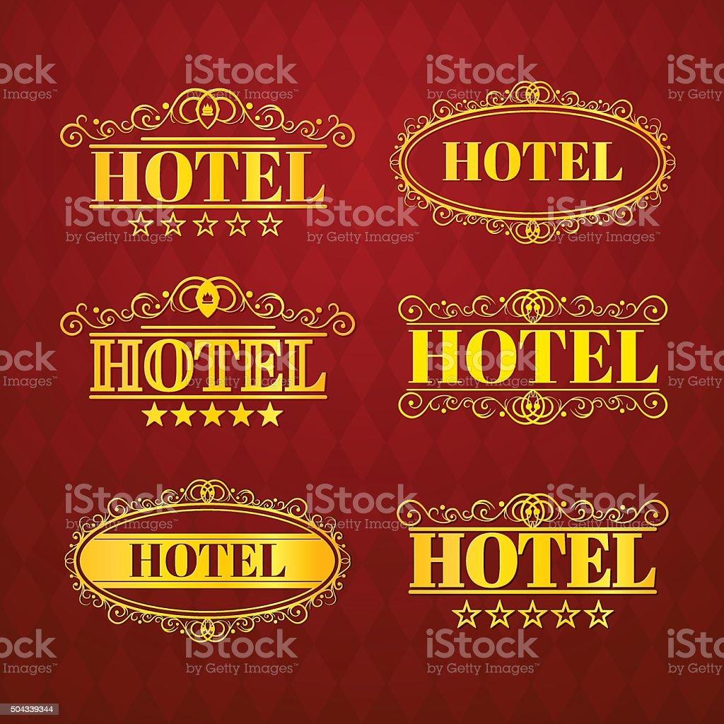 Hotel vintage golden labels,  vector illustration vector art illustration