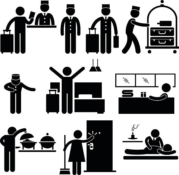 Hotel Workers And Services Vector Art Illustration