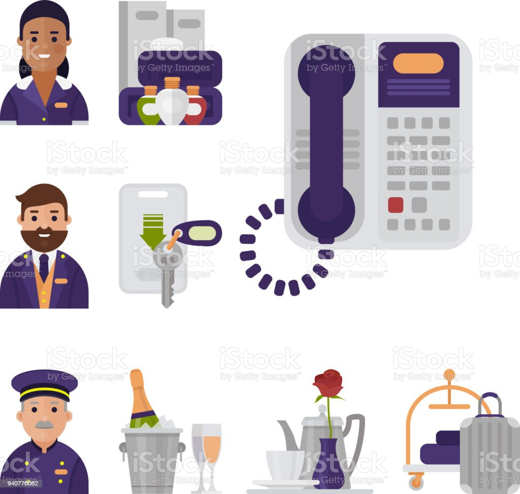 18d953e94b Hotel workers personal professional service man and woman job uniform  objects hostel manager vector illustration - Illustration .