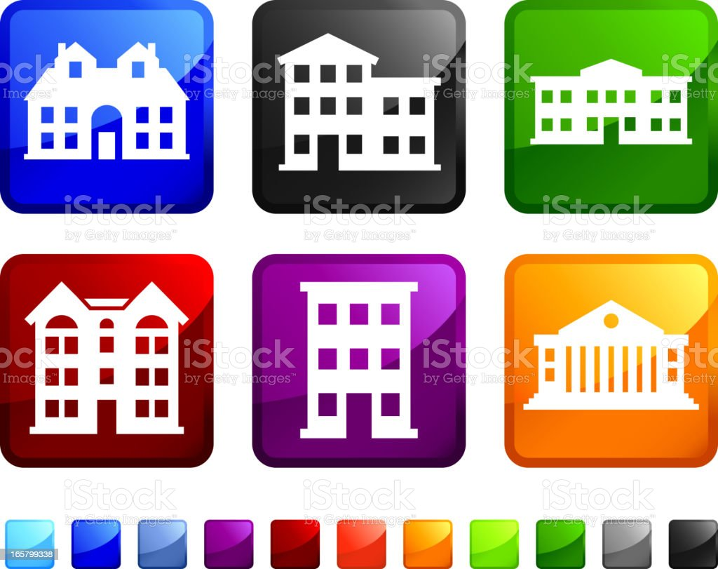 Hotels And Country Club Buildings Vector Icon Set Stickers Royalty Free