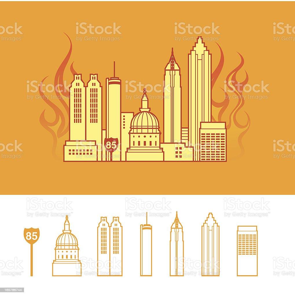 'Hotlanta': Cityscape of Atlanta Georgia USA vector art illustration