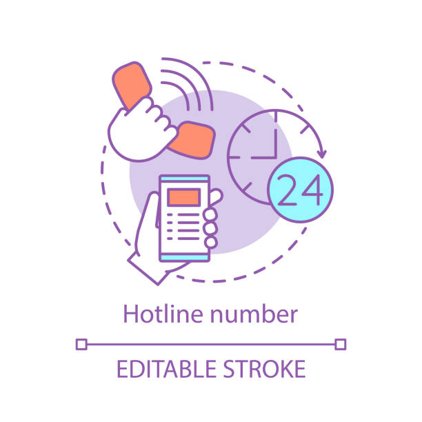 stockillustraties, clipart, cartoons en iconen met hotline nummer concept icoon - zelfmoord