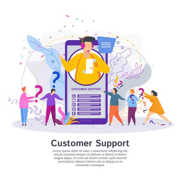 ilustrações, clipart, desenhos animados e ícones de operador de linha direta aconselha o cliente. homem na central de atendimento - dia do cliente