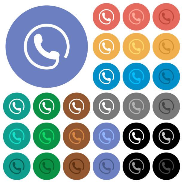 Hotline runde flache mehrfarbige Icons – Vektorgrafik