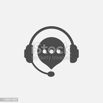 hotline support service with headphones icon isolated on white background. Vector illustration. Eps 10.