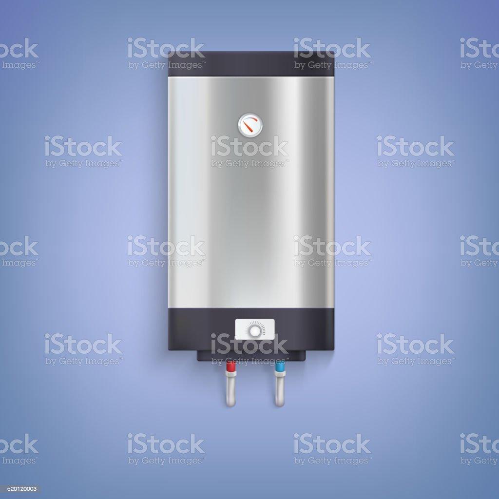 Hot-water tank, chrome plated vector art illustration