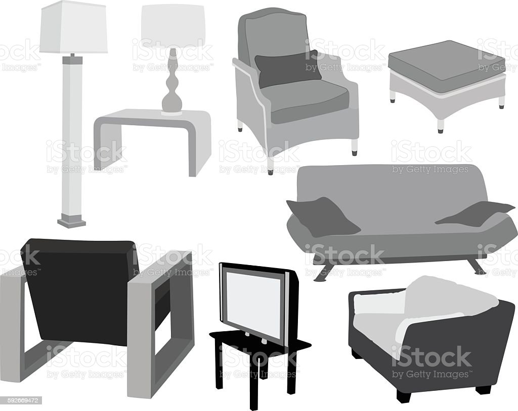 Houhold Living Room Furniture vector art illustration