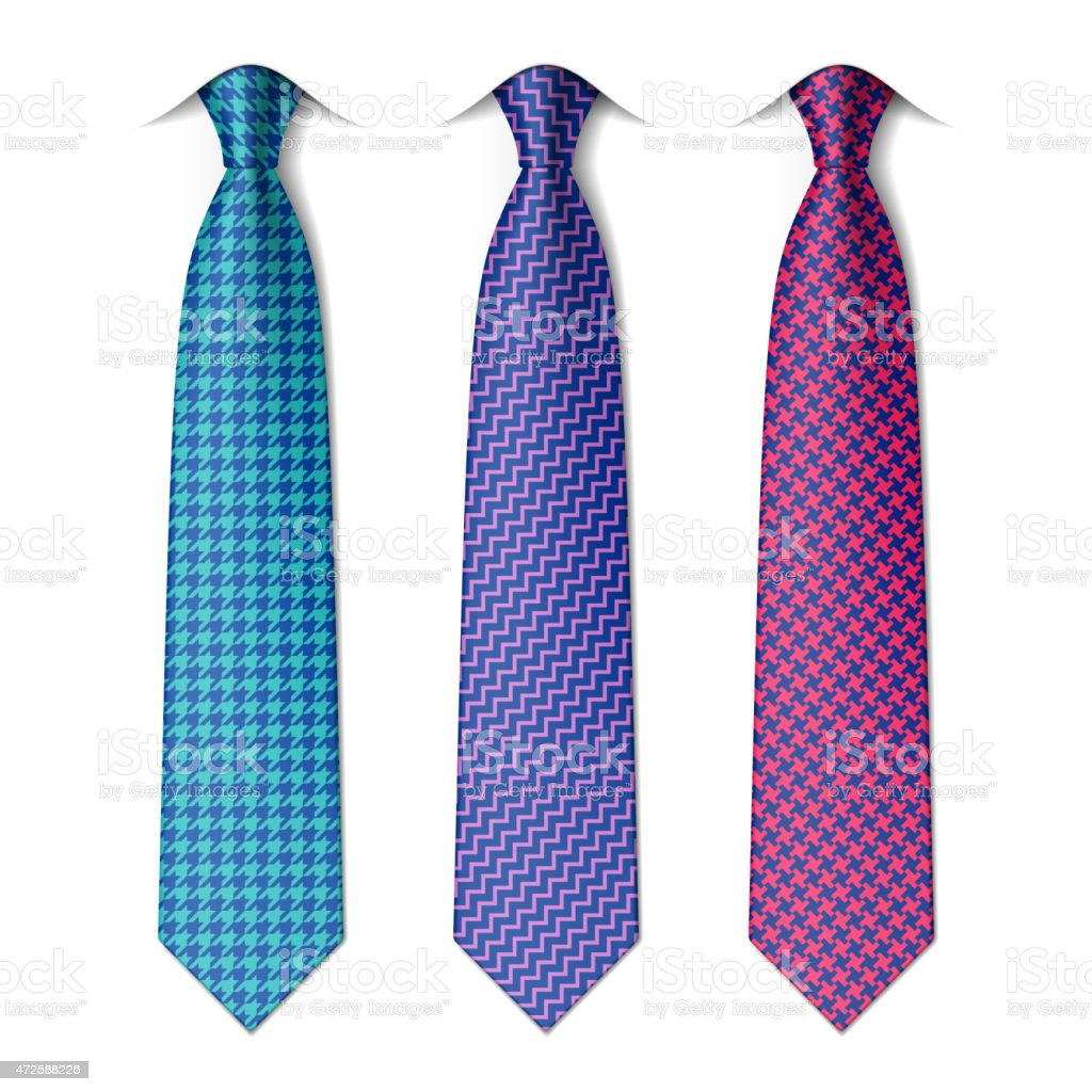 Houndstooth and zigzag patterns ties vector art illustration