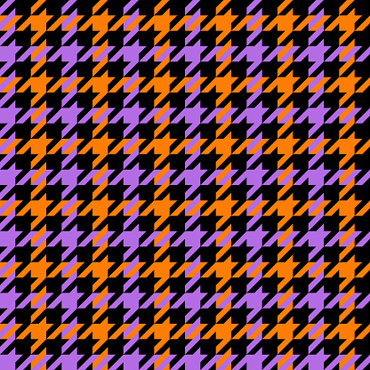 Houndstooth check pattern Halloween seamless vector in orange, purple, black. Classic dog tooth autumn background graphic for dress, scarf, gift paper, other modern October 31 holiday textile design.