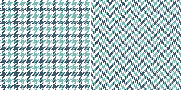 Houndstooth pattern in turquoise blue green and white. Seamless check vector for coat, jacket, scarf, dress, other modern spring autumn fashion textile print. Pixel dog tooth graphic background.