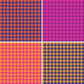Houndstooth seamless pattern. Vector collection of four different seamless houndstooth patterns in bright retro colors. AI8 eps File: Tiles are on separate layers and in the Swatches palette. Colors are grouped for easy editing. PDF file included