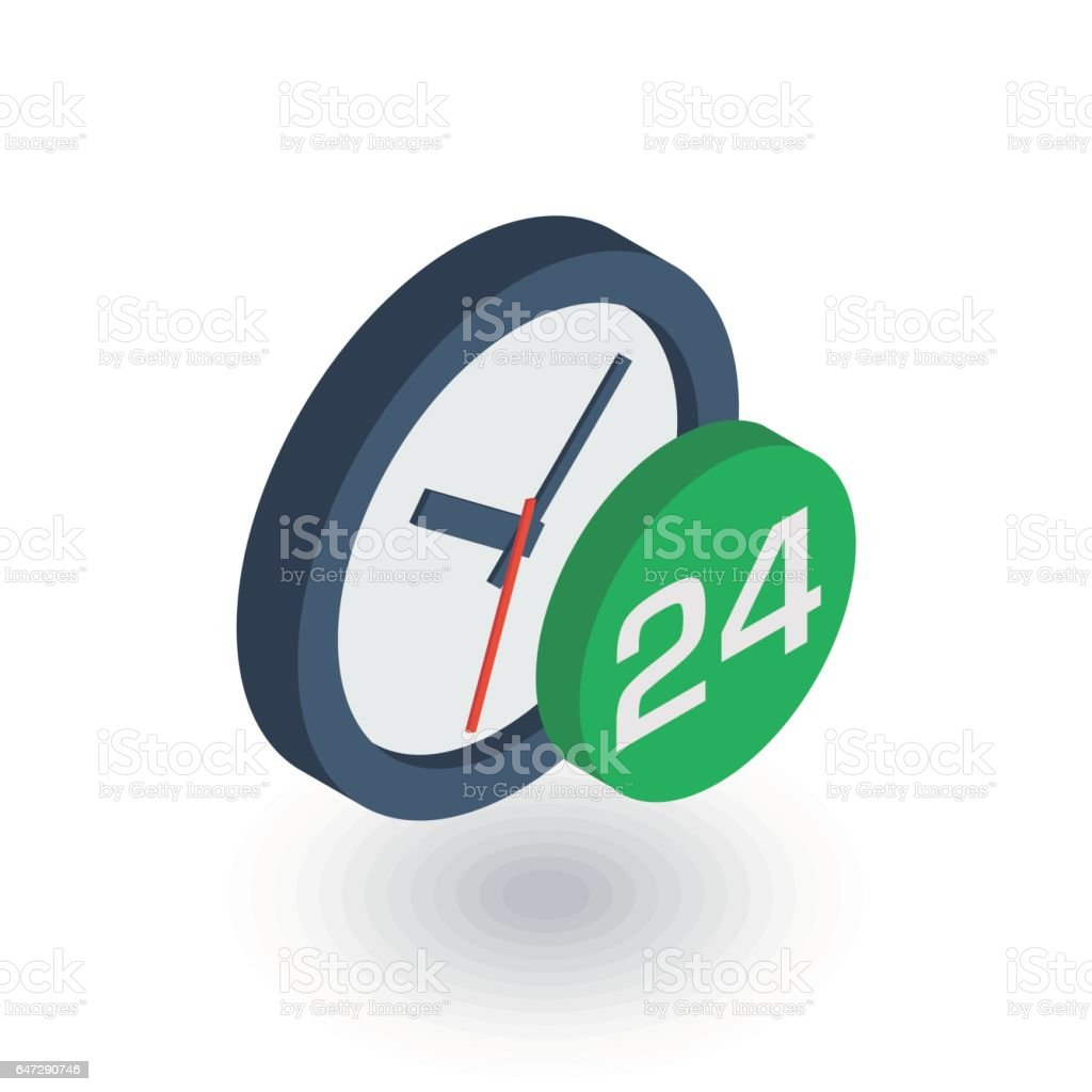 24 hour, around the clock, day and night isometric flat icon. 3d vector vector art illustration
