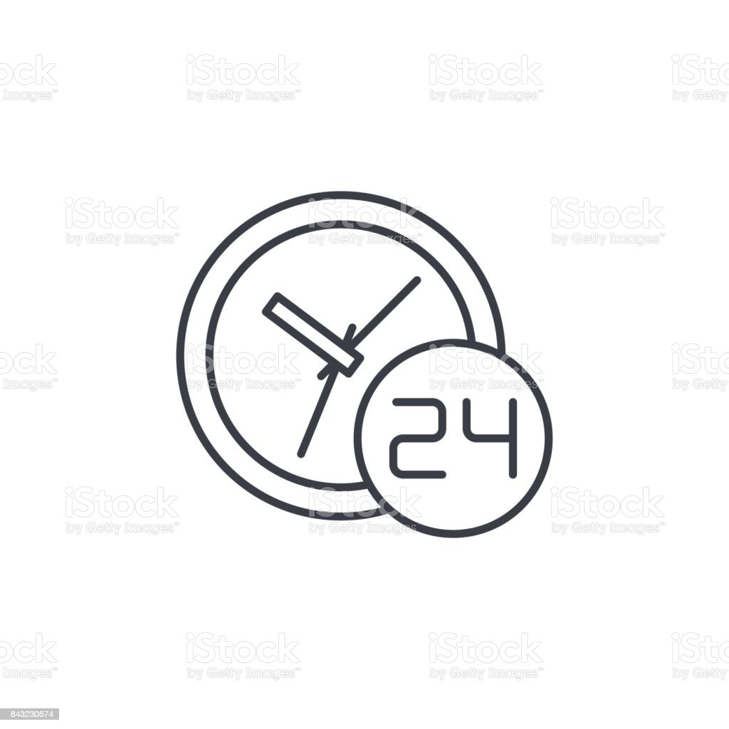 24 hour, around the clock, day and night thin line icon. Linear vector symbol vector art illustration