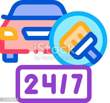 24 hour car wash icon vector. 24 hour car wash sign. color symbol illustration