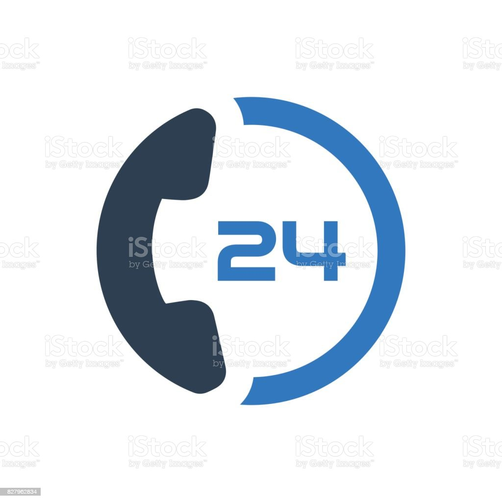 24 Hour Customer Care Service vector art illustration
