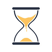 Hour glass sign. Transparent sandglass icon, time hourglass, sandclock flat design, vector eps10 illustration.