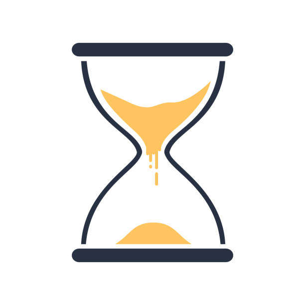 Hour glass sign. Transparent sandglass icon, time hourglass, sandclock flat design, vector eps10 illustration. - ilustração de arte vetorial