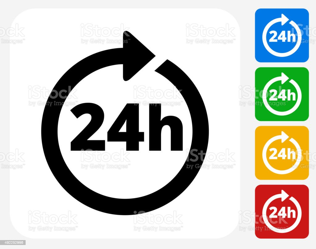 24 Hour Service Icon Flat Graphic Design vector art illustration
