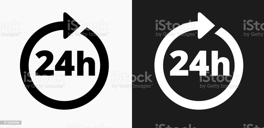 24 Hour Service Icon on Black and White Vector Backgrounds vector art illustration