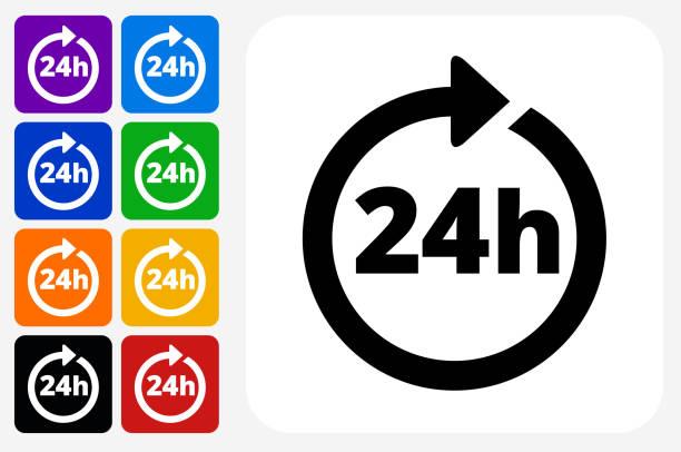 24 Hour Service Icon Square Button Set vector art illustration