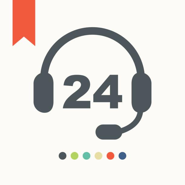 24 時間対応の service](サービス)アイコン - コールセンター点のイラスト素材/クリップアート素材/マンガ素材/アイコン素材