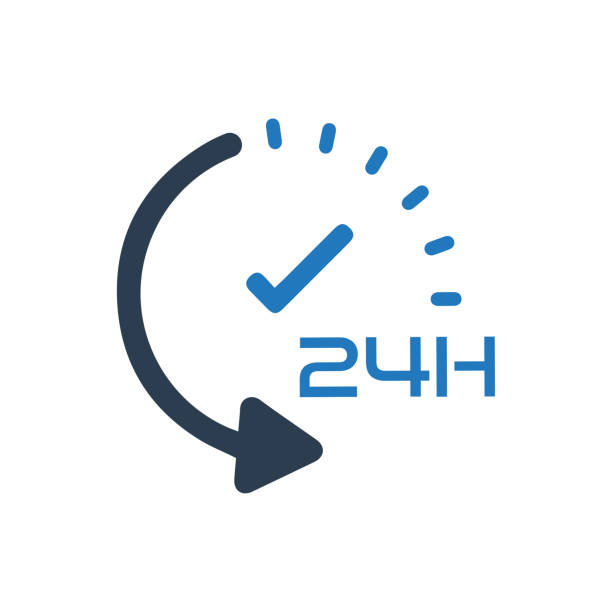 24 hour service icon - repetition stock illustrations, clip art, cartoons, & icons