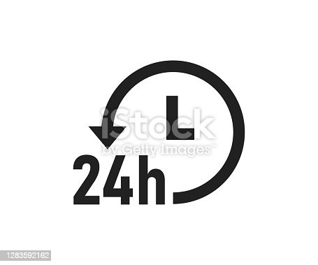 istock 24 hour service logo. 24h delivery icon. Always open symbol. Support online in vector flat 1283592162
