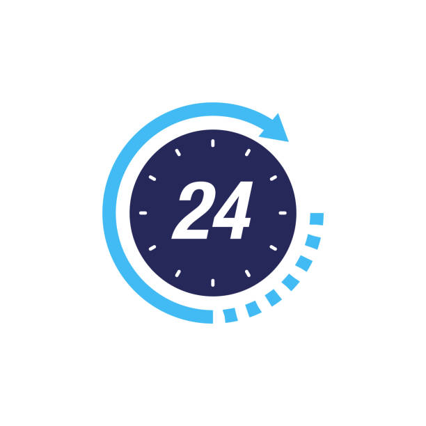 24 hour service support icon. Clock icon vector design 24 hour service support icon. Clock icon vector design switchboard operator vintage stock illustrations