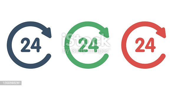24 hour service vector icon. Logo element illustration. Simple 24 hour service concept. Can be used in web and mobile. Linear vector illustration.
