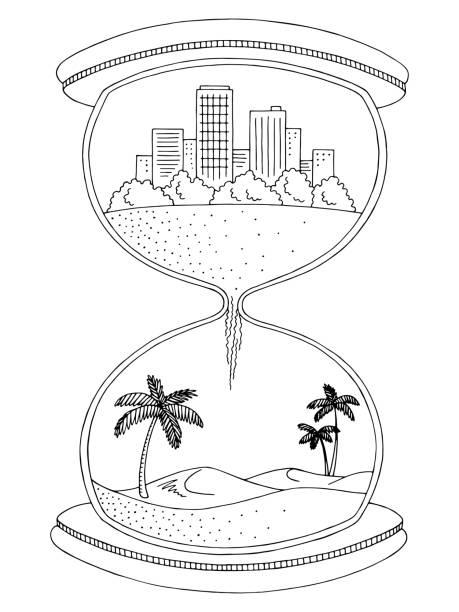 Hourglass Abstract Graphic Black White City Desert Landscape Sketch Illustration Vector Art