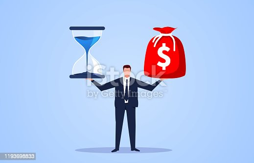 Hourglass and money bag on businessman palm