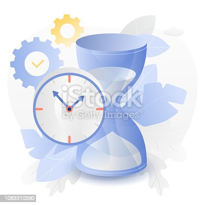 Vector illustration of a big hourglass and watch over white background surrounded by light gradiented leaves, cogwheels and clouds.