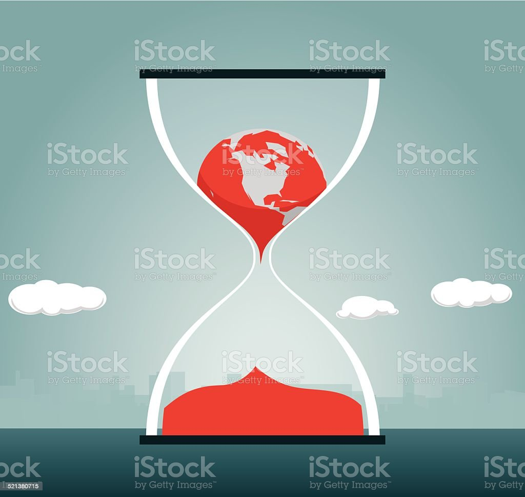 Hourglass, Change, Globe, Clock, Time, Earth, Melting vector art illustration
